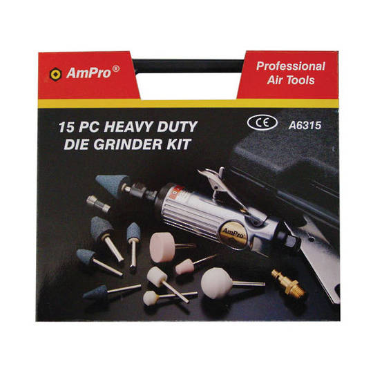 Ampro Air Die Grinder Kit 15pc