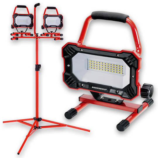 Powerbuilt 2x Portable LED Worklamps w\ Tripod