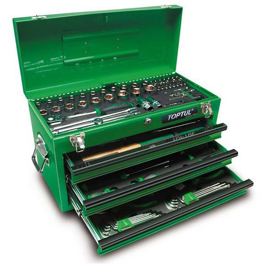 TopTul 99pc Green Tool Chest Kit