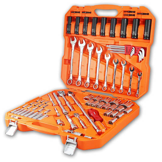 "Powerbuilt 1/4"" & 1/2""Dr 81pc Tradie Tool Set"
