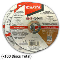 Makita 100pk Inox Cut-Off Discs 125mm x 1mm
