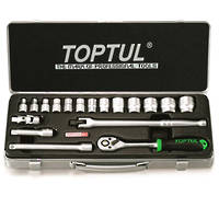 TopTul 18pc Socket Set 3/8Dr Metric