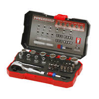 "Powerbuilt 1/4"" & Bit Dual Dr 28pc Spline Socket Set"