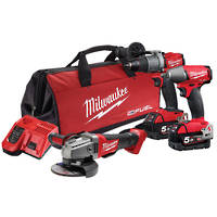 Milwaukee M18 FUEL 3pc Drill Wrench Grinder Kit