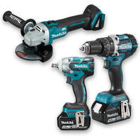 Makita 3pc 18V B/less Drill, Wrench & Angle Grinder 5Ah Kit